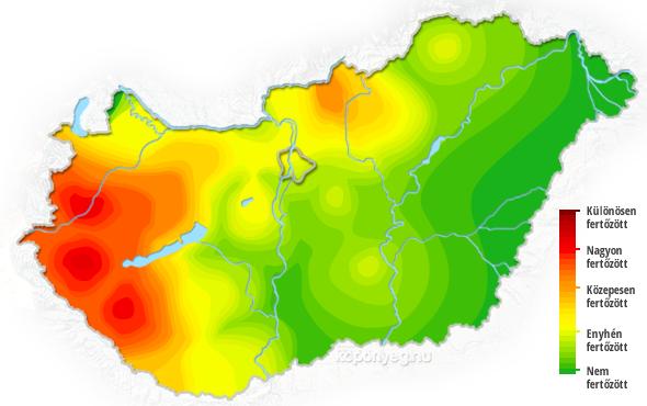 kullancs térkép magyarország 2014 Kullancsveszély   ezek a legfertőzöttebb területek   Hasznos  kullancs térkép magyarország 2014