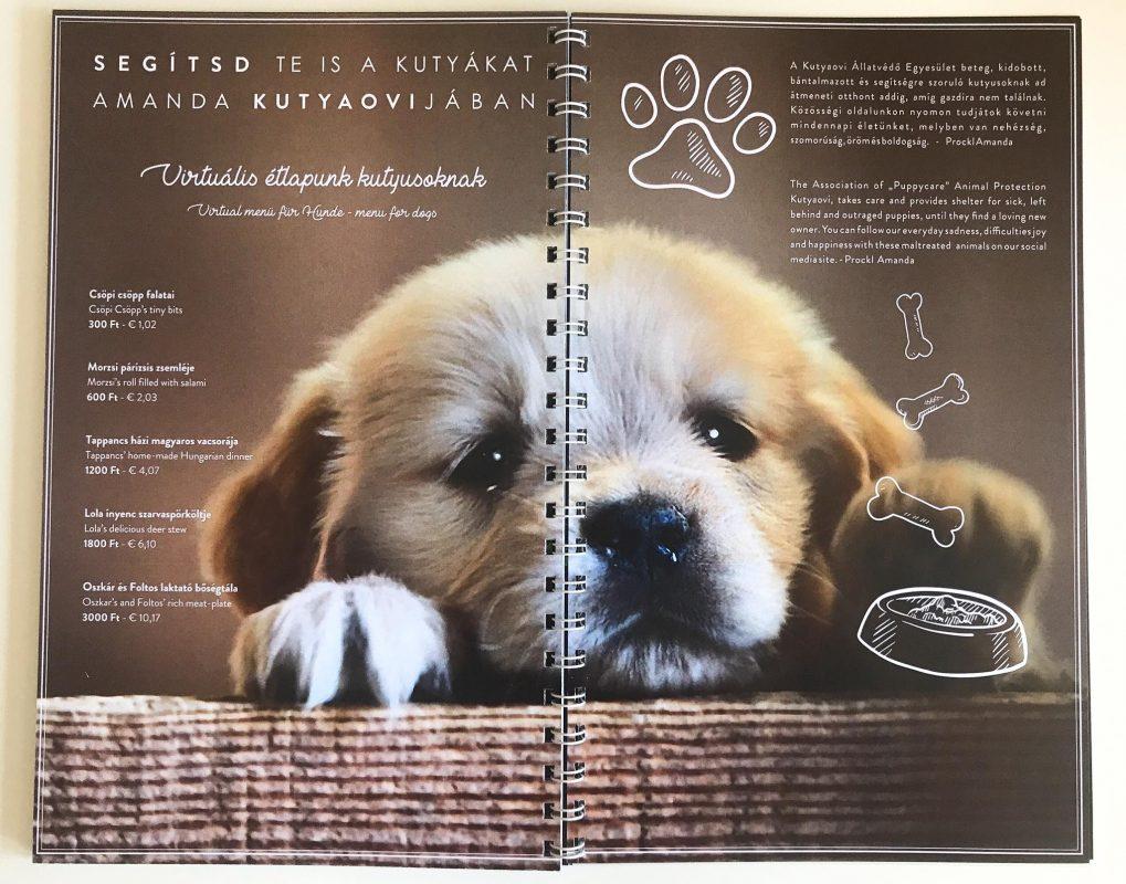 virtuális kutya étlap
