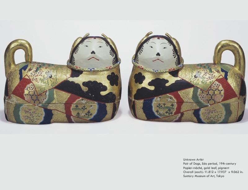 színes kutyaszobrok japán